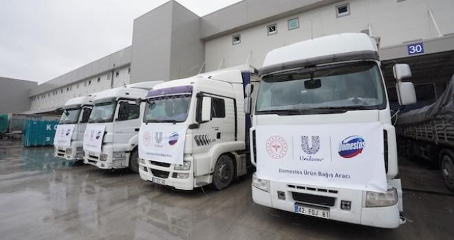 Unilever, Sağlık Bakanlığı'na 10 TIR çamaşır suyu bağışladı