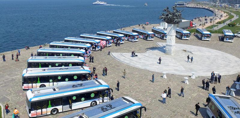 Türkiye'nin ilk elektrikli otobüs filosu İzmir'de kuruldu