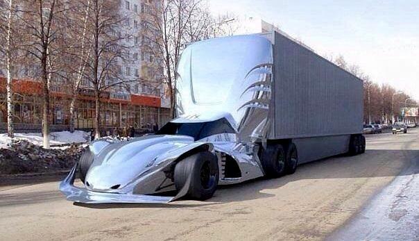 GÜNÜN EN HAVALI FOTOĞRAFI... Spor otomobil görünümlü çekici